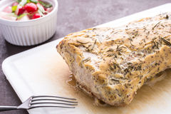 Iberico pork roast with mustard crust Royalty Free Stock Image