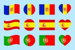 Iberyjski półwysep twierdzi flaga również zwrócić corel ilustracji wektora Hiszpania, Portugalia, Andorra krajowi symbole Różni g ilustracja wektor