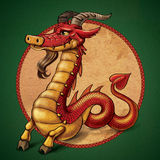 Ibex dragon. Ibex red dragon with beard Royalty Free Stock Image