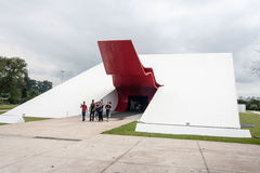 Ibirapuera Auditory Sao Paulo Brazil. The unique facade of the auditory with its red tongue in Ibirapuera Park, Sao Paulo, Brazil stock photography