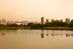 Evening in the Ibirapuera Park in Sao Paulo Stock Image