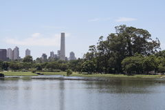 Ibirapuera Park, Sao Paulo. The Obelisque as seen from the lake in Ibirapuera Park, São Paulo, Brazil Stock Photos