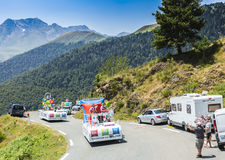 Ibis Hotels Caravan in Pyrenees Mountains - Tour de France 2015. Col D'Aspin,France- July 15,2015: Ibis Hotels Caravan during the passing of the Publicity Royalty Free Stock Photos