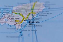 Ibiza на карте Стоковые Фото