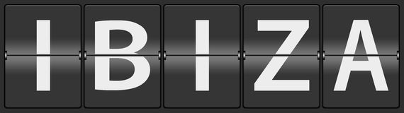 Ibiza on airport flipping panel. Ibiza on a black airport flipping panel vector illustration