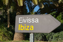 Ibiza Airport Signpost. At Exit Stock Images