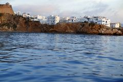 Ibiza from balearic islands in Spain. Mediterranean touristic vacation town Stock Photo