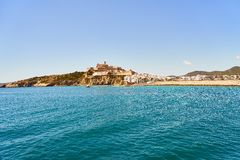 Ibiza Balearic Spain old town view from the seaside Royalty Free Stock Photo