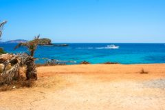 Ibiza beach view of Santa Eulalia cove .- stock image