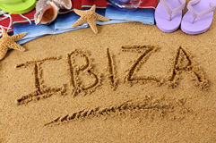 Ibiza beach holiday sand word writing Stock Photography