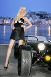 Ibiza blond beautiful black sport car young Stock Images