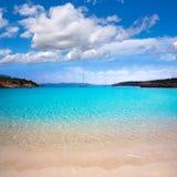 Ibiza Cala Bassa beach with turquoise Mediterranean Royalty Free Stock Photo