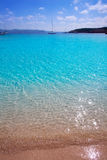 Ibiza Cala Bassa beach with turquoise Mediterranean Stock Images