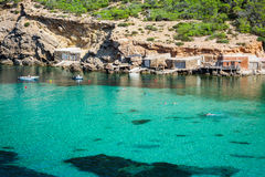 Ibiza Cala Benirras beach in san Joan at Balearic Islands Spain Stock Photo