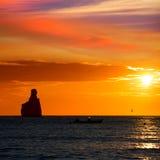 Ibiza Cala Benirras sunset beach in san Juan at Balearic Stock Photography