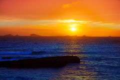 Ibiza Cala Conta Comte Compte sunset Stock Photography