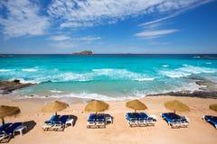 Ibiza Cala Conta Comte strand i Sant Josep Royaltyfria Foton