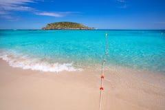 Ibiza Cala Conta Comte strand i Sant Josep Arkivbild