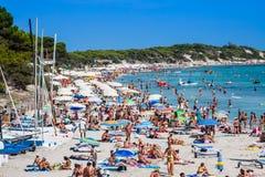 Ibiza Cala de Sant Vicent AUGUST 20, 2013: Caleta de San vicent Stockfotografie