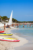 Ibiza Cala de Sant Vicent AUGUST 20, 2013: caleta de san vicent Immagine Stock Libera da Diritti