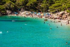 Ibiza Cala de Sant Vicent AUGUST 20, 2013: Caleta de San vicent Stockfotos
