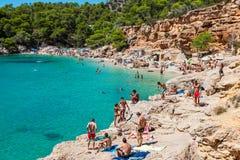 Ibiza Cala de Sant Vicent AUGUST 20, 2013: caleta de san vicent Fotografia Stock
