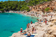 Ibiza Cala de Sant Vicent AUGUST 20, 2013: Caleta de San vicent Stockfoto