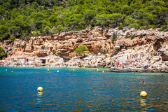 Ibiza Cala DE Sant Vicent AUGUST 20, 2013: caleta DE vicent San Royalty-vrije Stock Fotografie