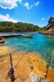 Ibiza Cala Mestella Mastella en DES Riu de Santa Eularia photo stock