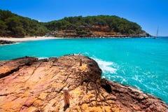 Ibiza cala Salada in san antonio Abad at Balearic Stock Images