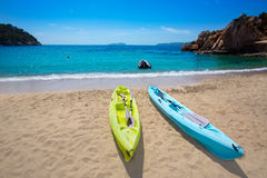 Ibiza cala Sant Vicent beach with Kayaks san Juan Royalty Free Stock Photography