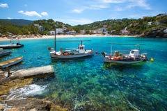 Ibiza Cala Vedella Vadella em San Jose em Balearics imagens de stock