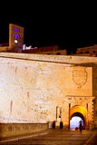 Ibiza castle night lights with fort main door Royalty Free Stock Image