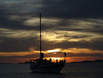 Ibiza Cruising Party Boat at Sunset Royalty Free Stock Photography