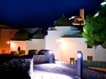 Ibiza Dalt Vila con gli indicatori luminosi di notte della chiesa Immagine Stock