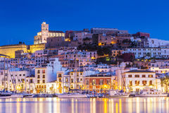 Free Ibiza Dalt Vila Downtown At Night With Light Reflections In The Water, Ibiza, Spain. Royalty Free Stock Photo - 86228355