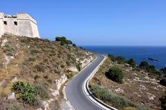Ibiza dalt vila and road. Ibiza dalt vila, road and mediterranean sea royalty free stock photography