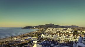 Ibiza Eivissa, ανατολή πέρα από την παραλία Bossa κρησφύγετων Playa Στοκ φωτογραφία με δικαίωμα ελεύθερης χρήσης
