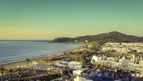 Ibiza Eivissa, ανατολή πέρα από την παραλία Playa d'en Bossa Στοκ Εικόνες
