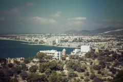 Ibiza Eivissa avec la vue bleue de ville de la mer Méditerranée Photo libre de droits