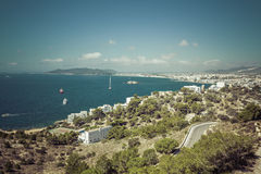 Ibiza Eivissa with blue Mediterranean sea city view Stock Images