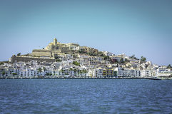 Ibiza Eivissa old town with blue Mediterranean sea city view Stock Photo