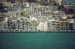 Ibiza Eivissa Old Town with blue Mediterranean Sea Stock Photography