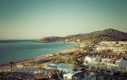 Ibiza Eivissa, salida del sol sobre Playa d'en la playa de Bossa Fotografía de archivo libre de regalías