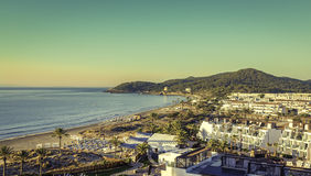 Ibiza Eivissa, sunrise over  Playa d'en Bossa Beach Stock Images