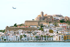 Ibiza Eivissa town with blue Mediterranean sea Royalty Free Stock Photos
