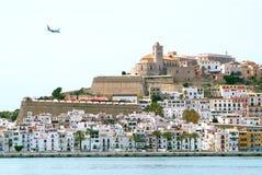 Ibiza Eivissa town with blue Mediterranean sea Royalty Free Stock Photos