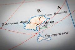 Ibiza em um mapa de estradas Fotos de Stock Royalty Free