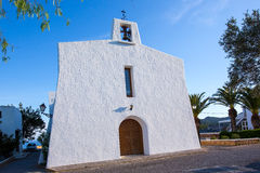 Ibiza Es Cubells church in san Jose at Balearic Stock Images