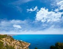 Ibiza Es Cubells medelhavs- sikt i San Jose Arkivbild